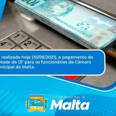 Servidores da Câmara municipal de Malta recebem parte do 13º salário